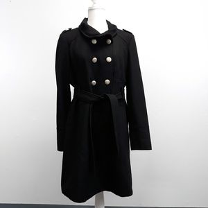 Guess Black Wool Blend 3/4 Length Trench Coat